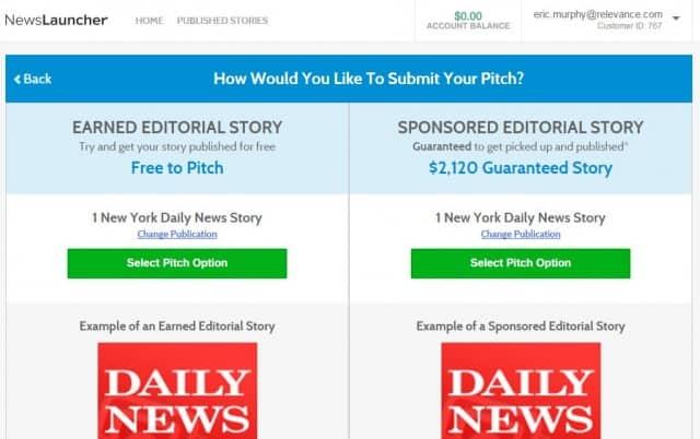 newslauncher pitch options